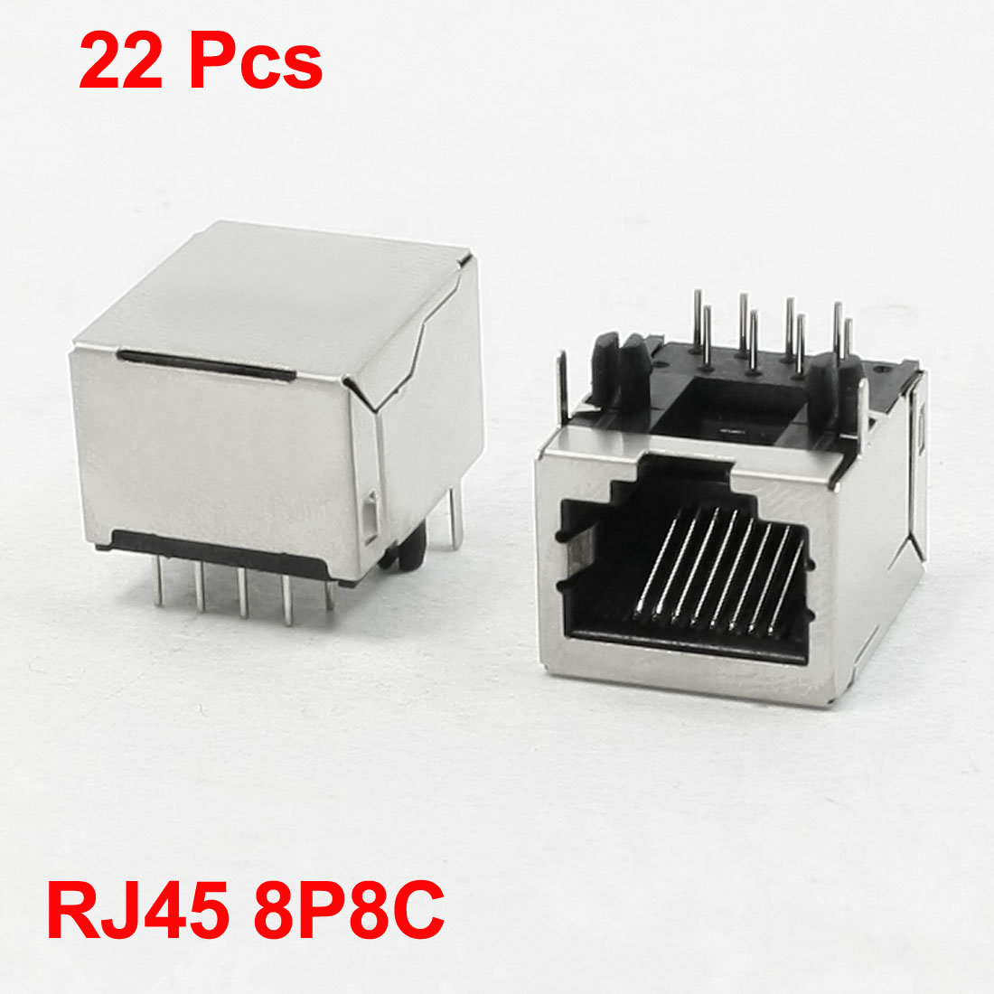 22 Pcs 8P8C Right Angle Pins RJ45 PCB Jacks Sockets 21 x 16 x 17mm