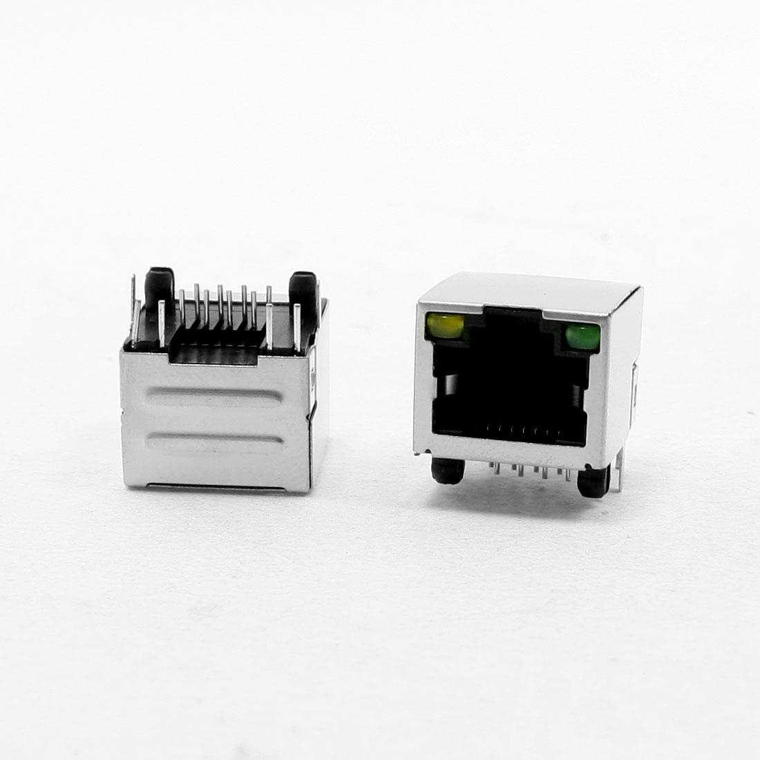 LED Indicator Light RJ45 8P8C PCB Mounting Shielded Jacks Connectors 20Pcs