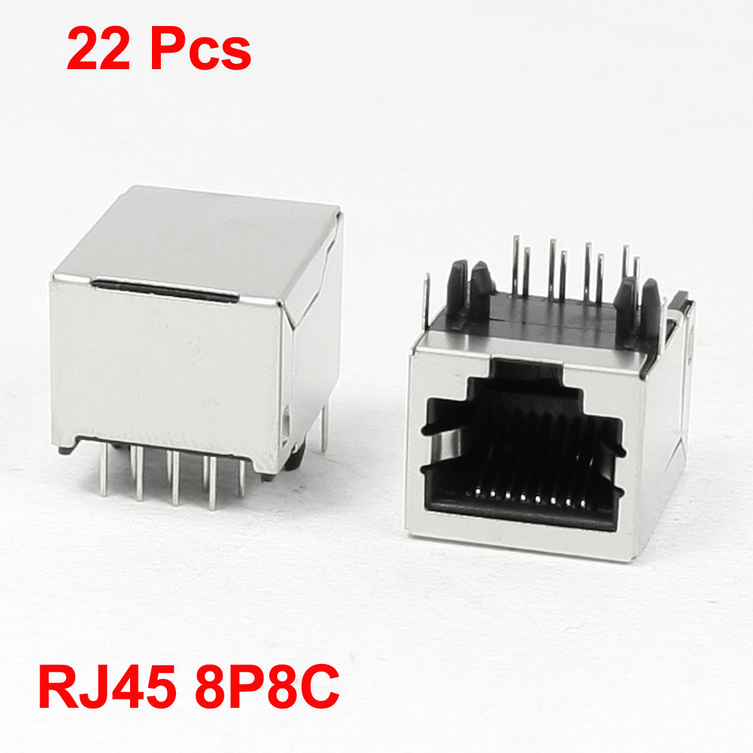 22 Pcs 8Pin RJ45 Modular Network Jack PCB Port 18 x 16 x 17mm