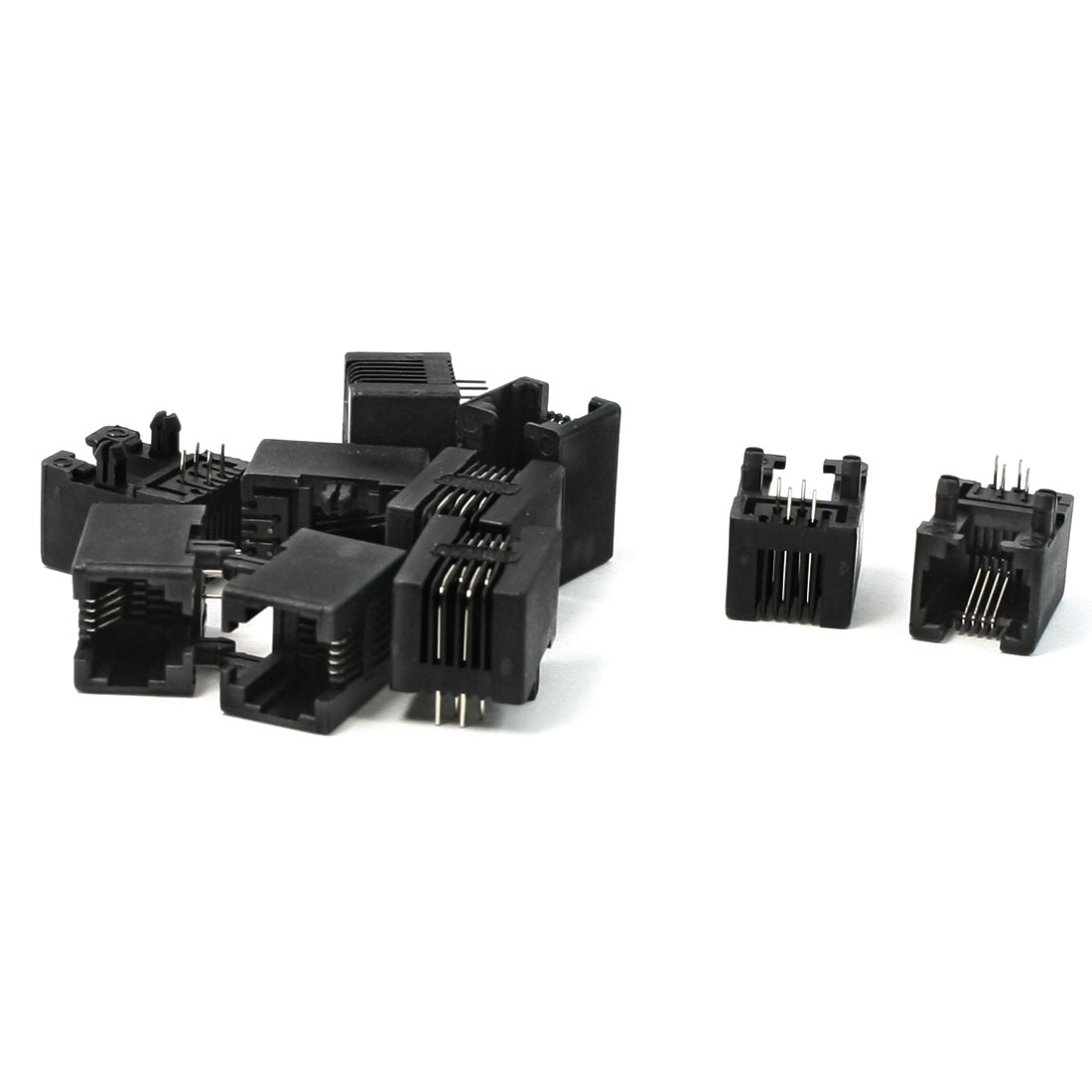 10 Pcs RJ11 4Pin Modular Network PCB Jacks Ports 17.5mm Length for WAN Network