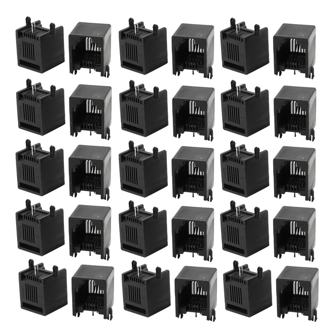 30Pcs RJ11 6P2C PCB Jacks Telephone Line Plastic Sockets 13 x 12 x 14mm