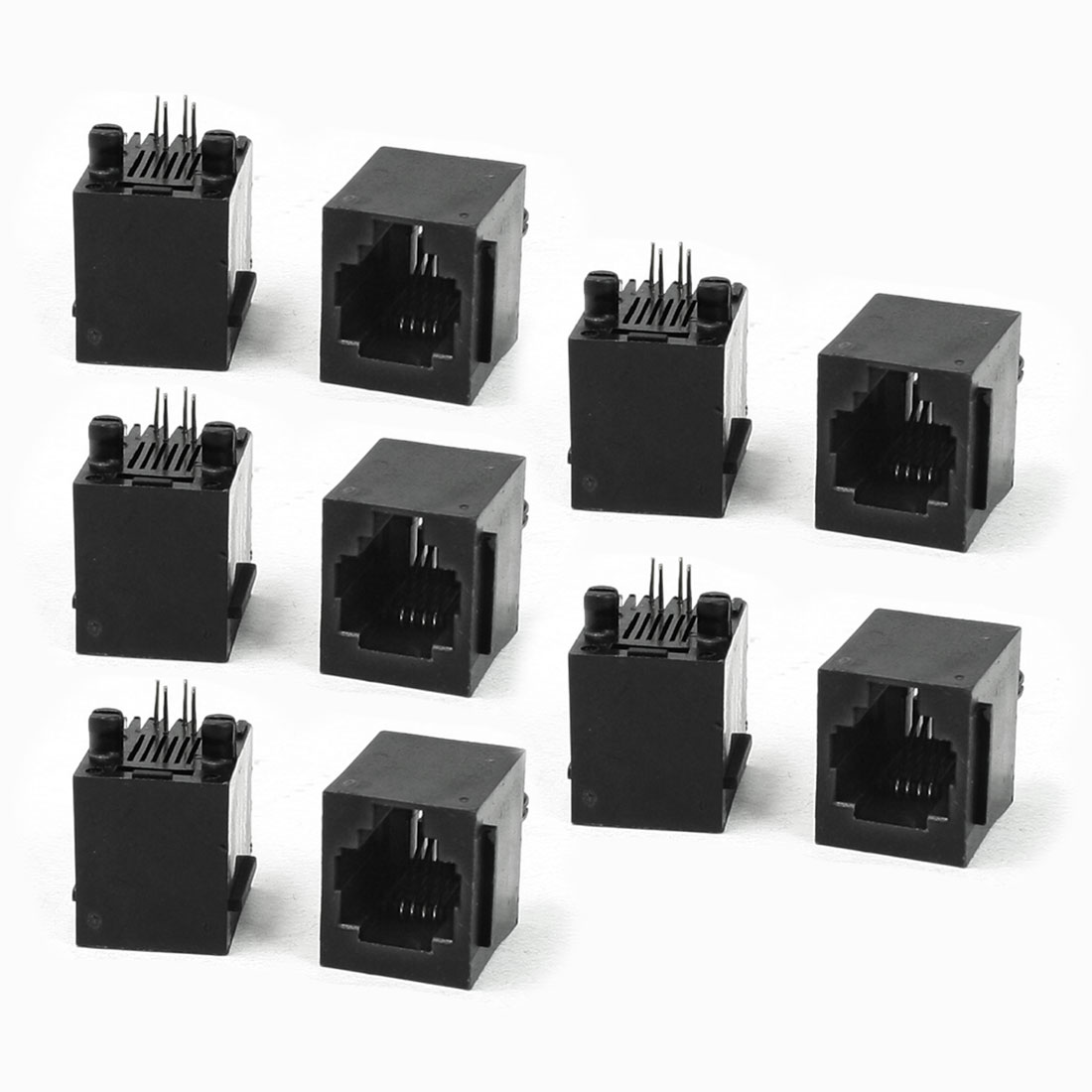 10 Pieces RJ11 Modular Network PCB Jack Vertical Ports Sockets
