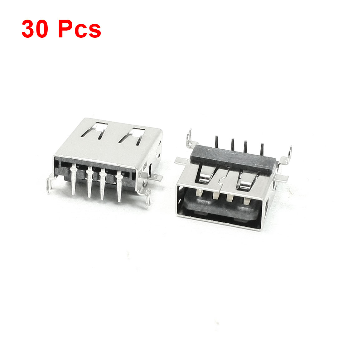 30 Pcs Type A USB 2.0 4 Right Angle Pin Female Jacks Connectors for PCB