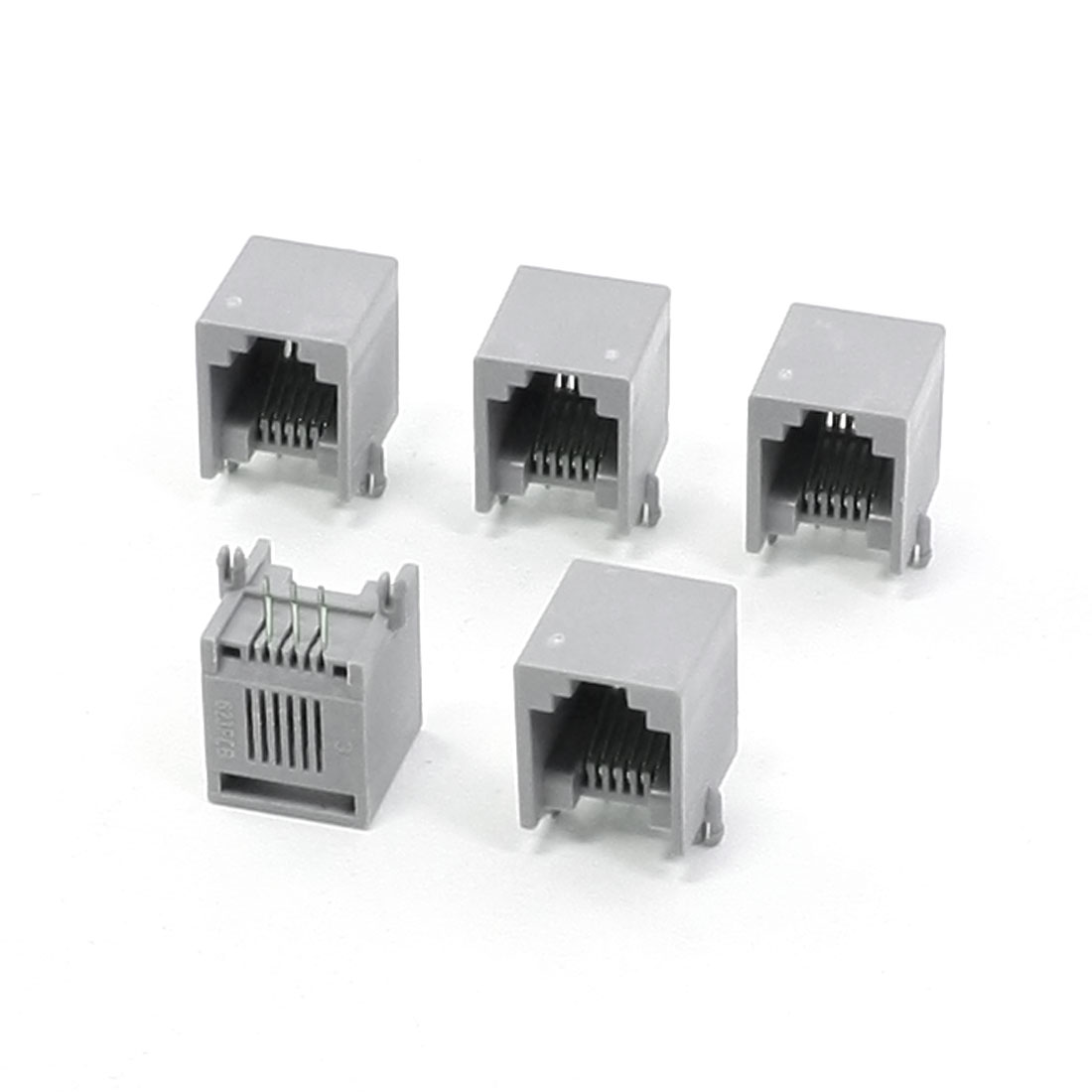 RJ12 6P6C Side Entry Modular Network PCB Jacks Connectors Gray 5 Pcs