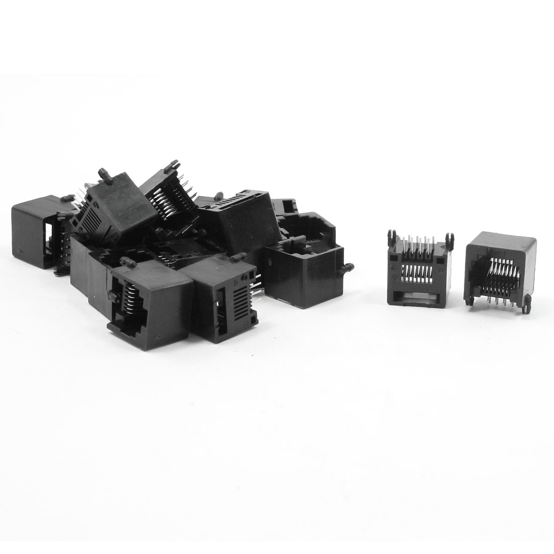 20pcs RJ45 8P8C Black Plastic Internet Network PCB Jack Socket