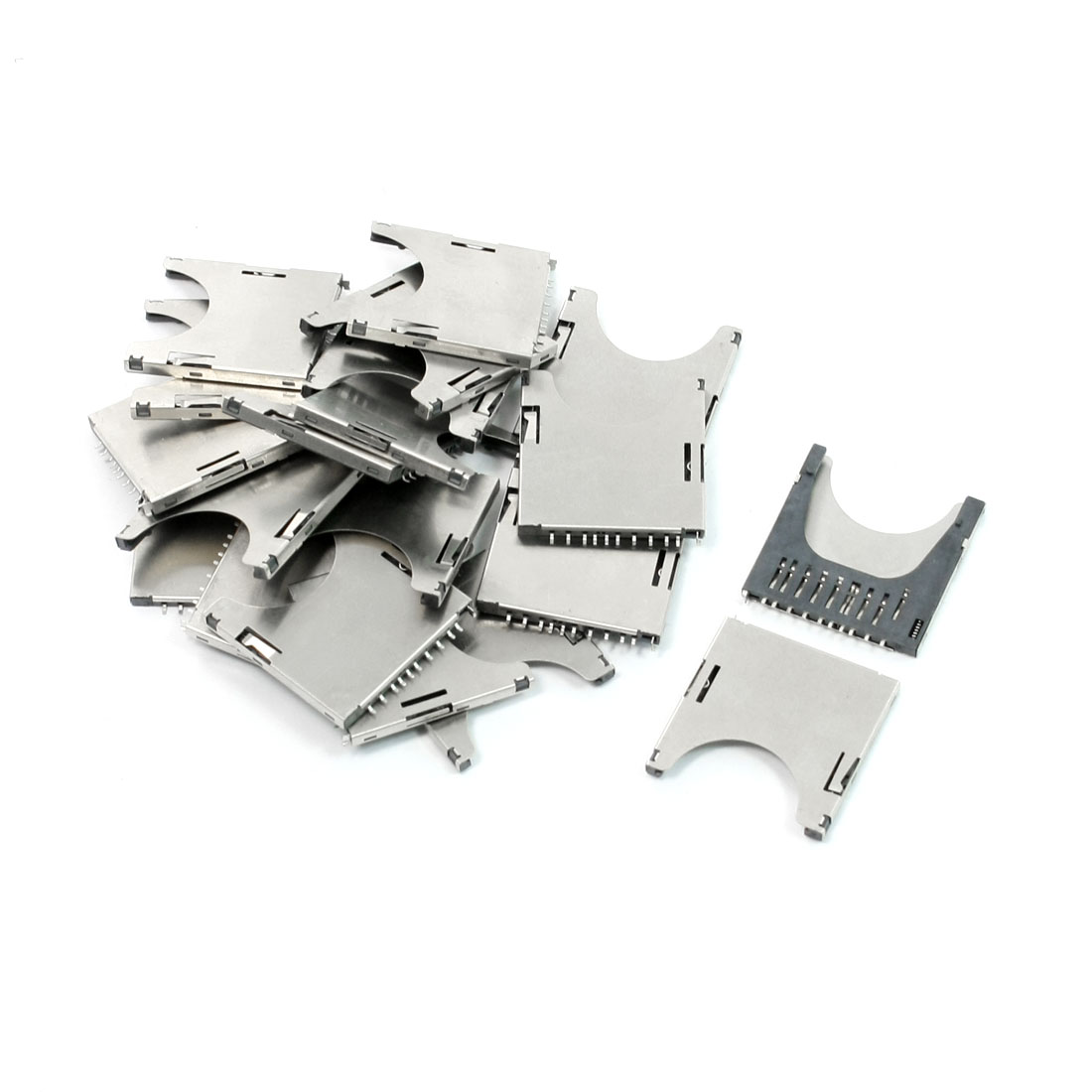 10Pcs Spring Loaded Stainless Steel SD Card Sockets Slots 29mm Long