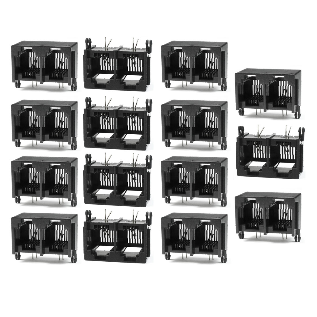RJ11 6P2C Dual Ports Side Entry Modular Telephone Jack Connector 15 Pcs
