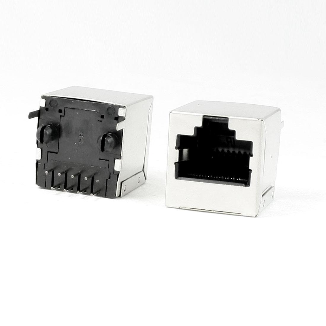10Pcs RJ45 8P8C PCB Jack Shielded Vertical Connector 16 x 15.5 x 16mm