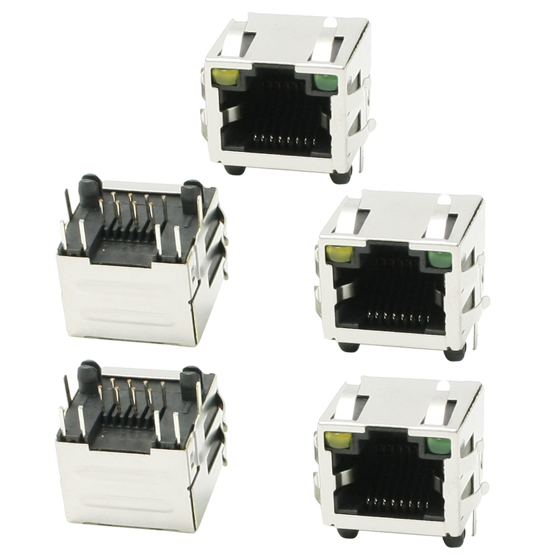 LED Light Horizontal RJ45 8P8C Modular Network PCB Jacks 16 x 16 x 13mm 5 Pcs