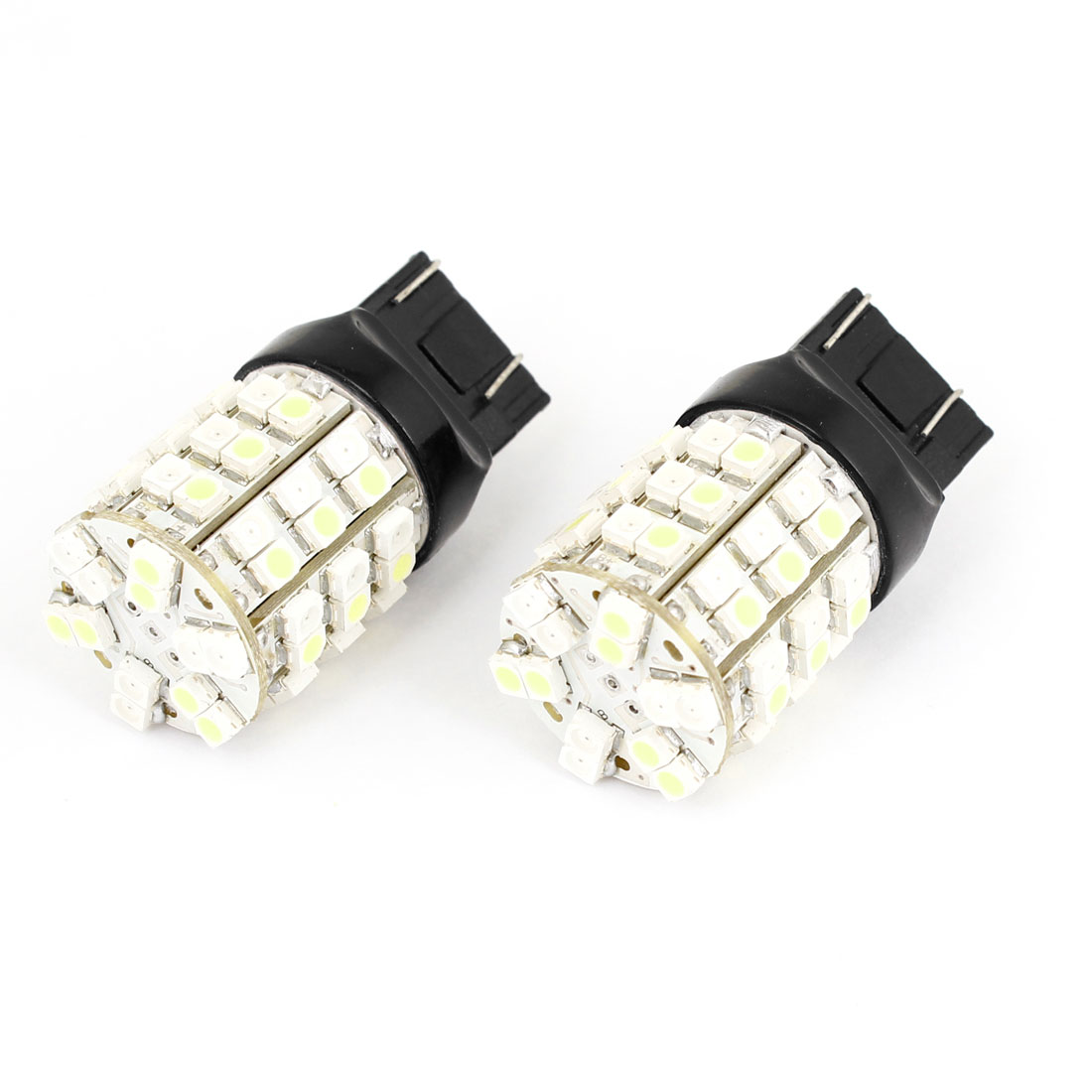 2 Pcs 7443 White Yellow 60 LED 1210 SMD Brake Back up Lamp Bulb for Car