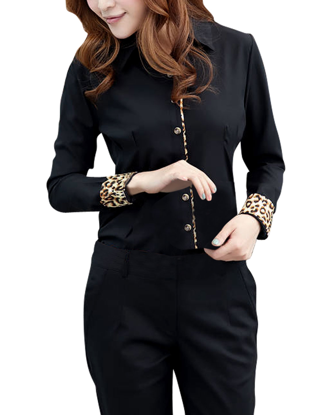 Black L Round Trim Long Sleeve Leopard Print Button Down Women Top Shirt