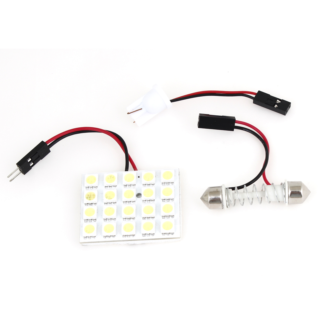 White 20 5050 SMD Dome LED Lamp Board + T10 Festoon Adapter for Auto Car