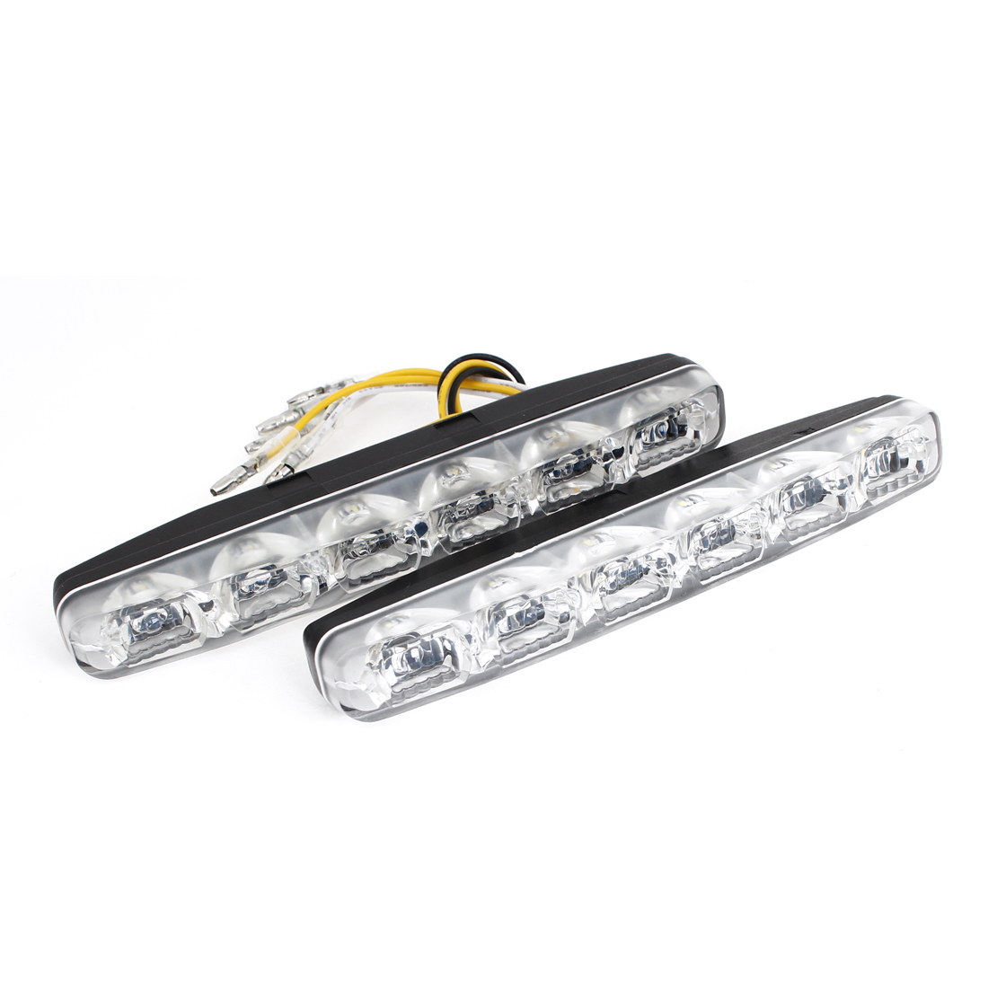 White Yellow 6 LED Bulb Turning DRL Daytime Running Light 2pcs for Car