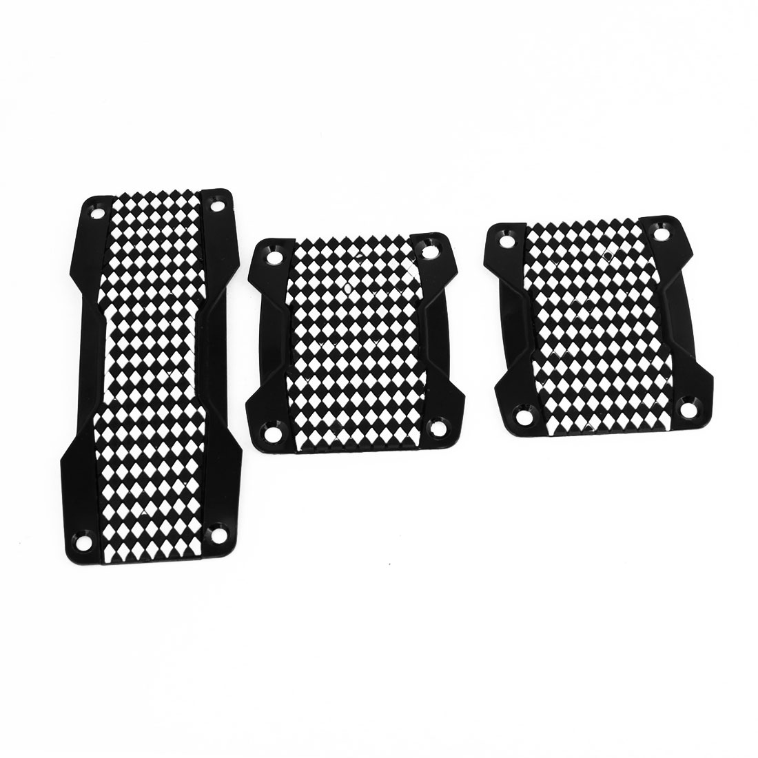 MT Van Car Metal Rubber Black White Diamond Pattern Anti-Slip Plastic Pedal Set
