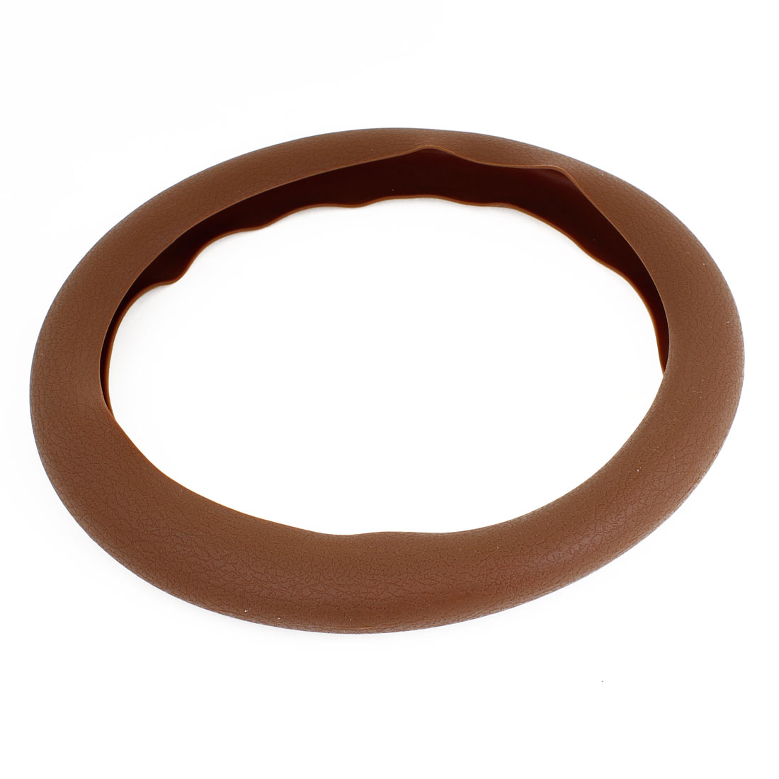 "Universal Brown Silicone Steering Wheel Cover 13"" Diameter for Auto"