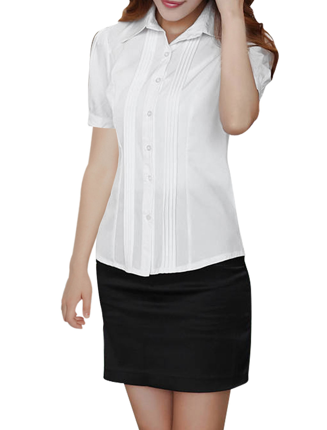 XS Ladies Short Sleeve Point Collar Slim Fit Style Solid Color Shirt White