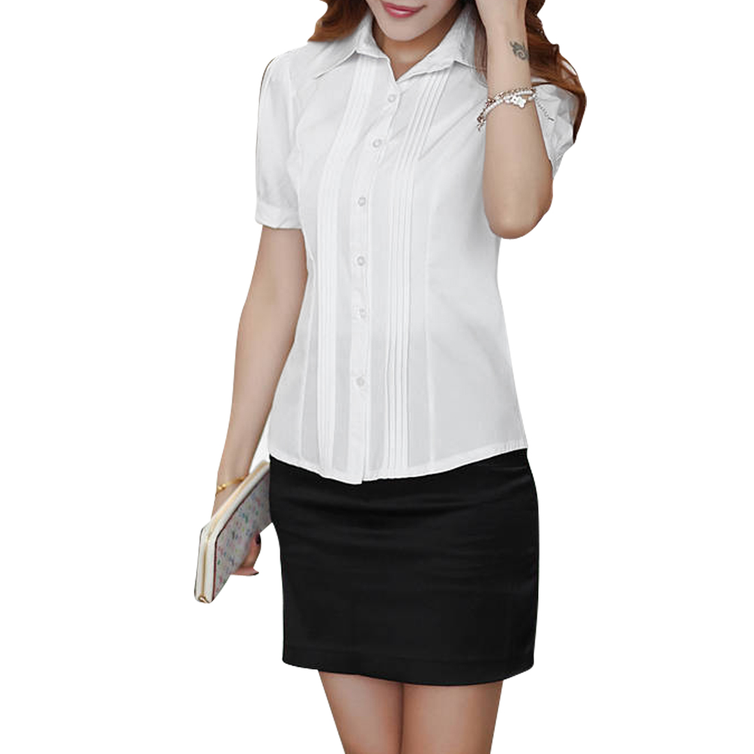 Women Point Collar Round Hem Short Sleeve Design Casual Top Shirt M White