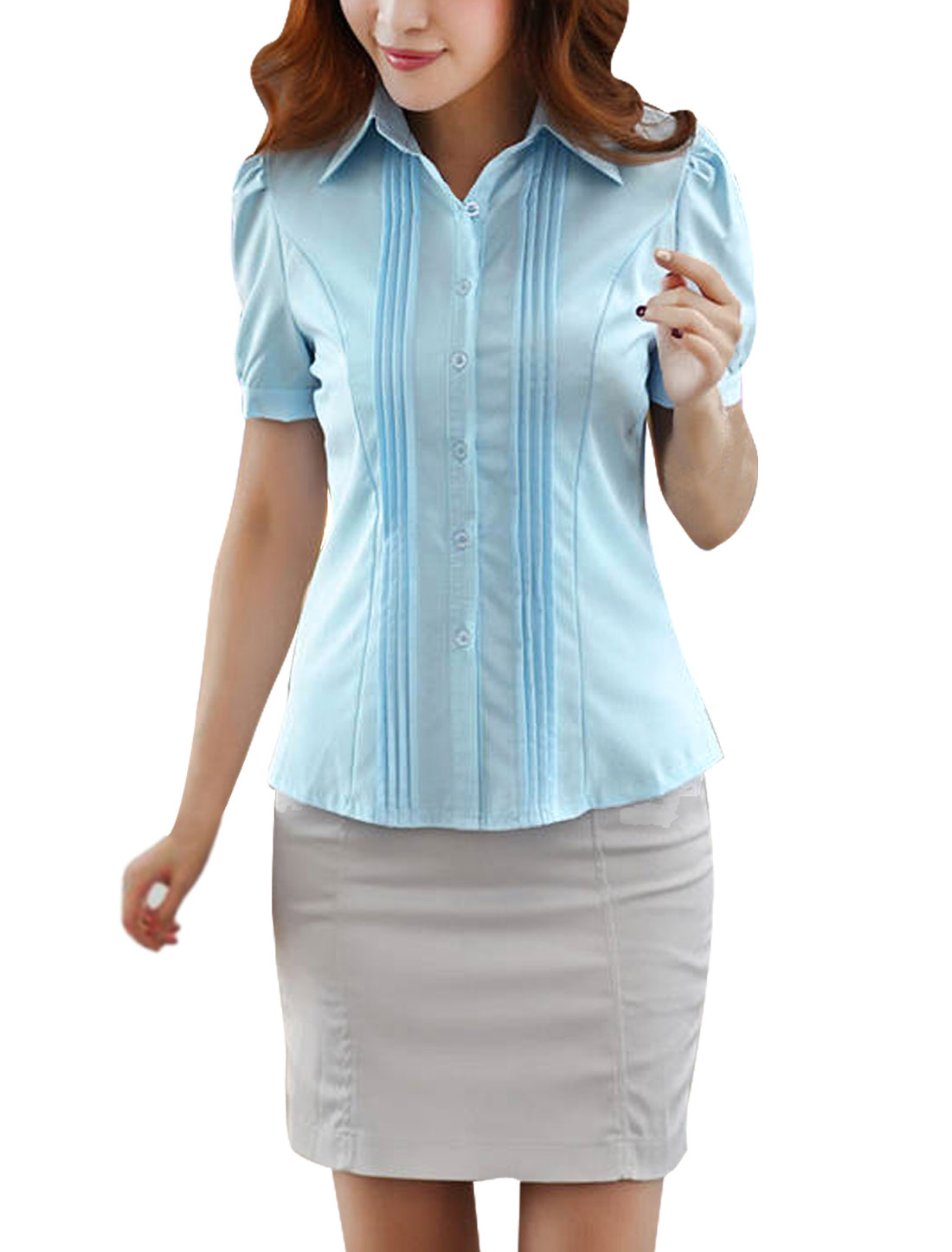 M Blue Point Collar Skinny Fit Design Solid Color Button Front Women Shirt