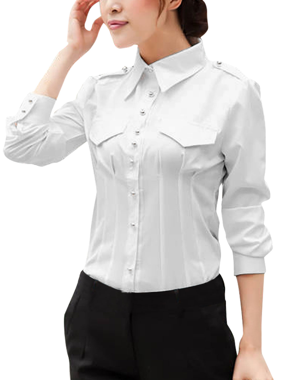 Women Single Breasted Fake Chest Pockets Leisure Shirt White XS
