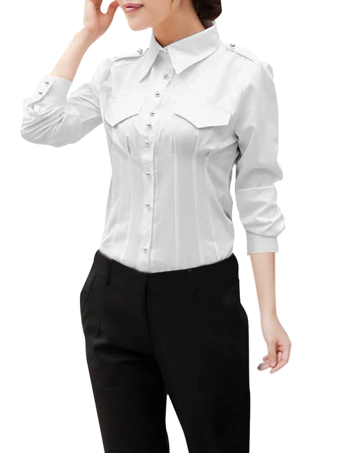 Women Point Collar Long Sleeve Buttoned Cuffs Shirt White M