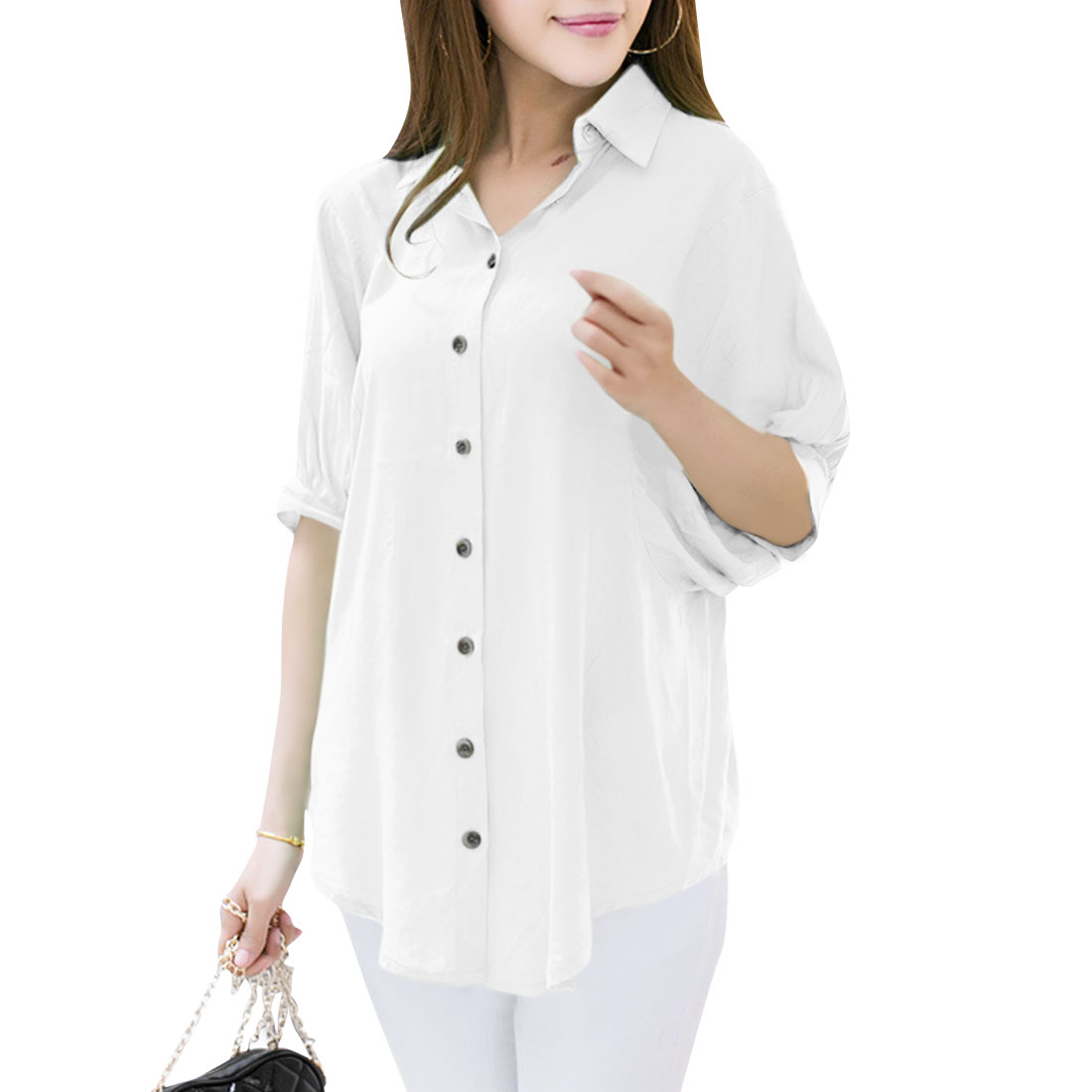 Women Button Front Batwing Sleeve Leisure Top Shirt White M