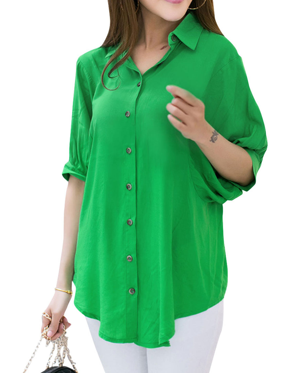 Women Point Collar Single Breasted Casual Top Shirt Green S