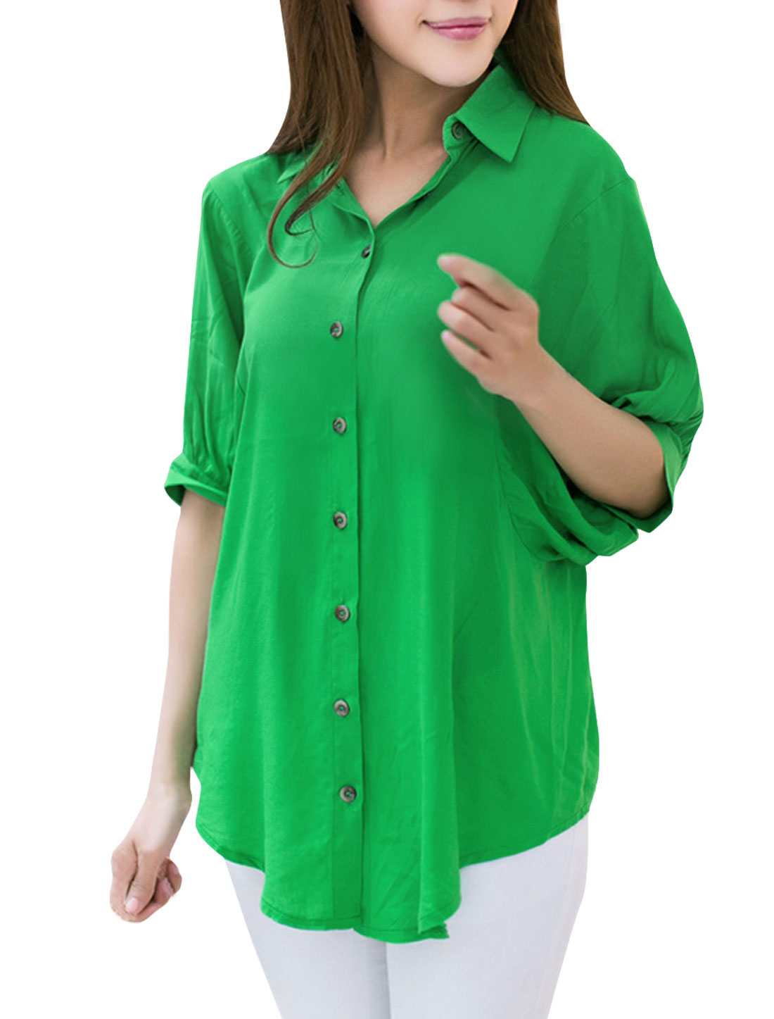 Stylish Women Button Closure Rund Hem Top Shirt Green M