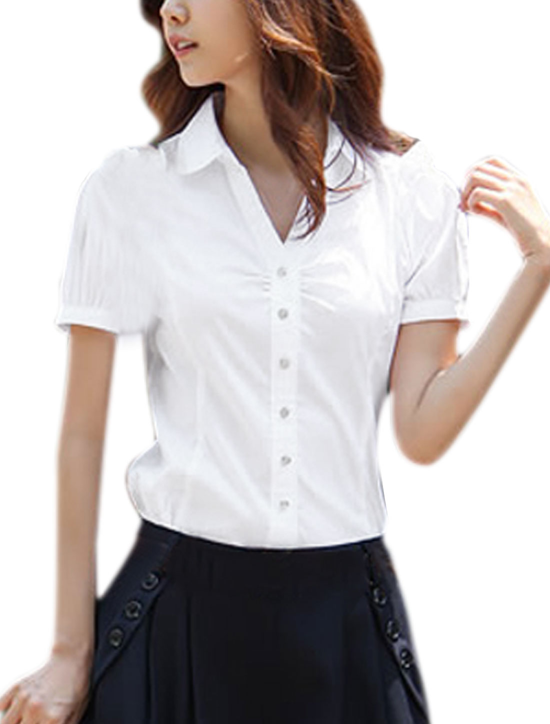 Ladies Front Button Down Point Collar Round Hem Stylish Shirt XS White