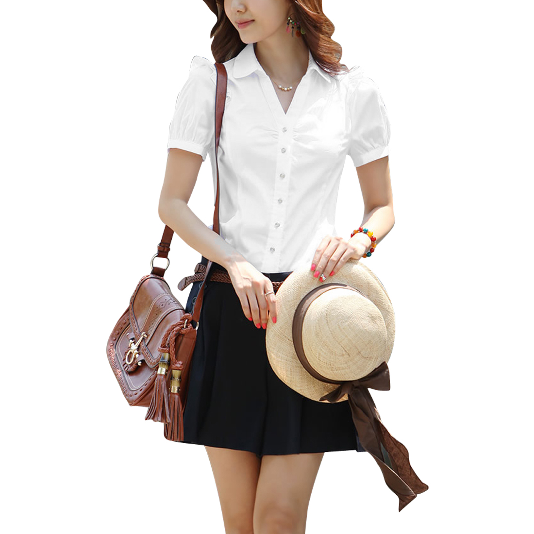 Women Puff Sleeve Design Point Collar Button Closure Summer Shirt M White