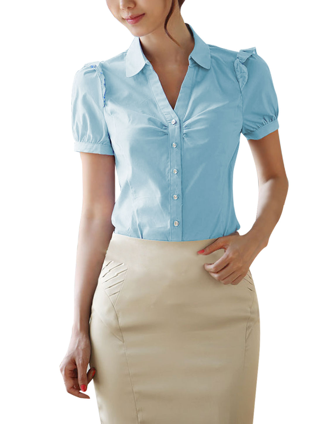 M Blue Point Collar Solid Color Slim Fit Style Fashion Shirt for Ladies