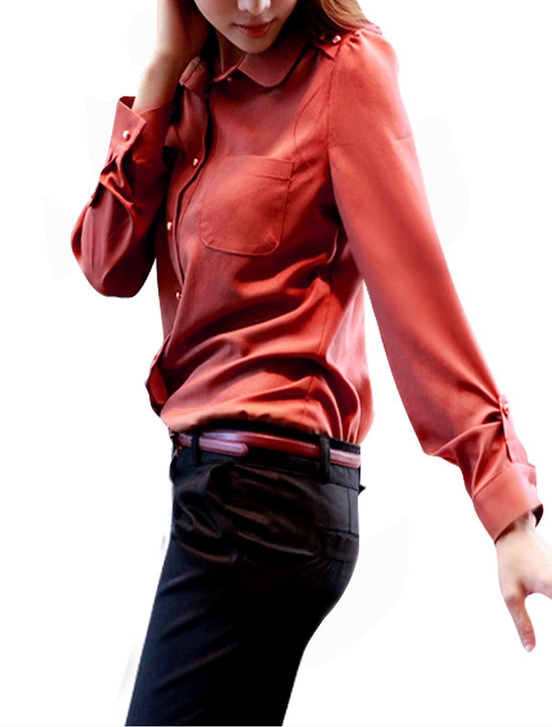 S Ladies Point Collar Button Down Style Long Sleeve Fashion Shirt Rust