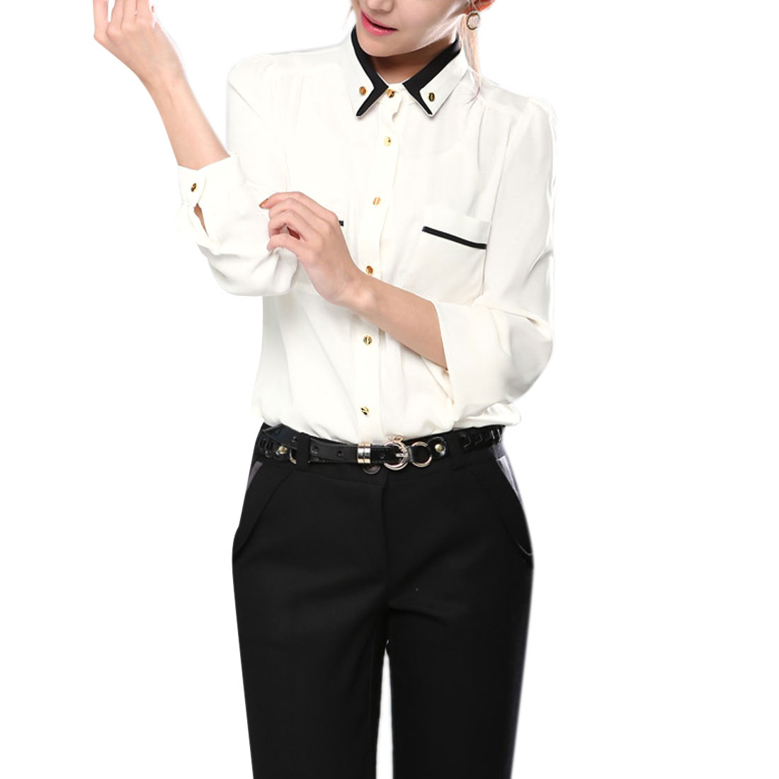 Lady White Point Collar Single Breasted Front Pocket Shirt XS