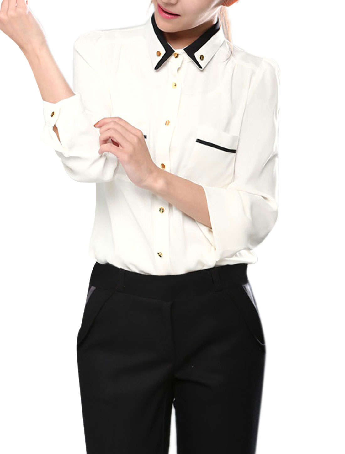 Lady White Point Collar Button Down Long Sleeve Shirt S