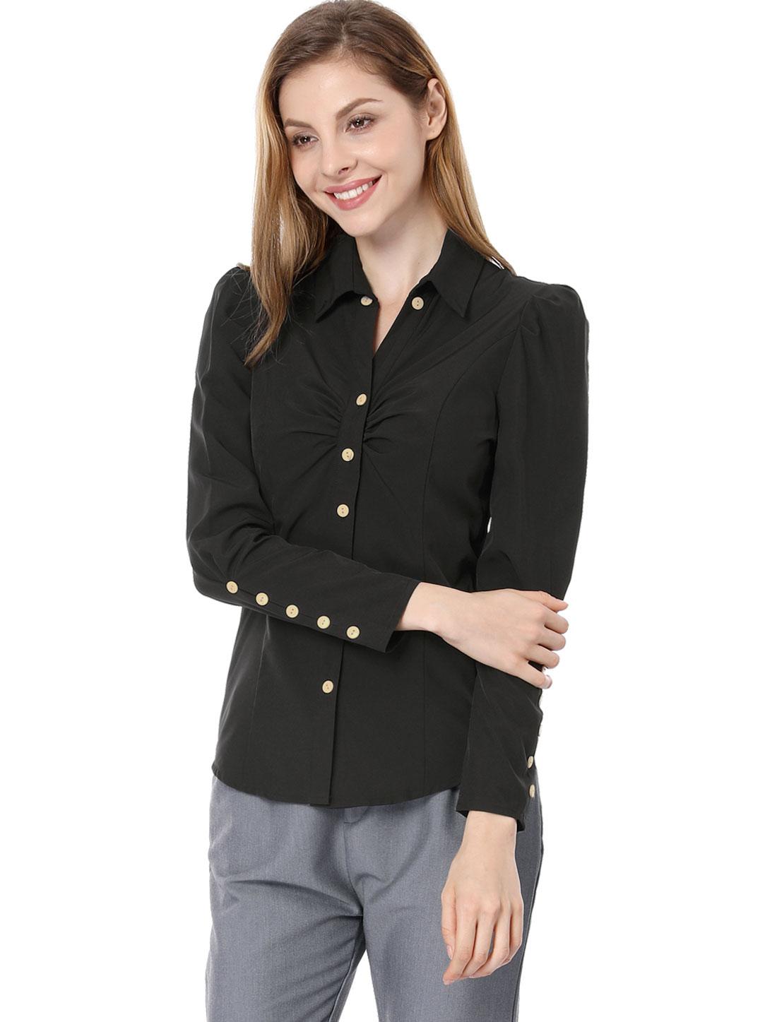 Women Point Collar Long Sleeve Button Decor Cuffs Shirt Black XS