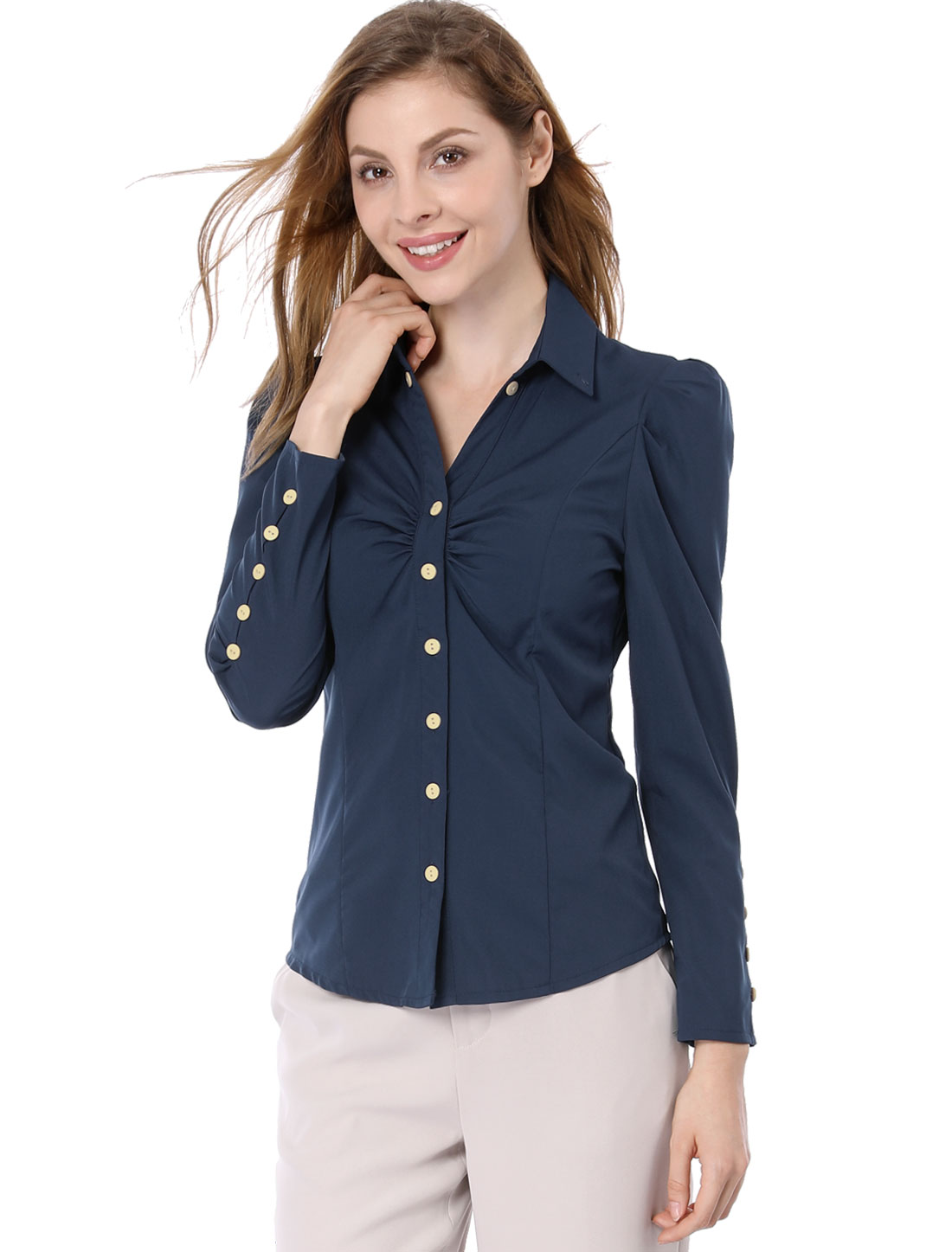 Women Point Collar Button Closure Casual Shirt Navy Blue XS