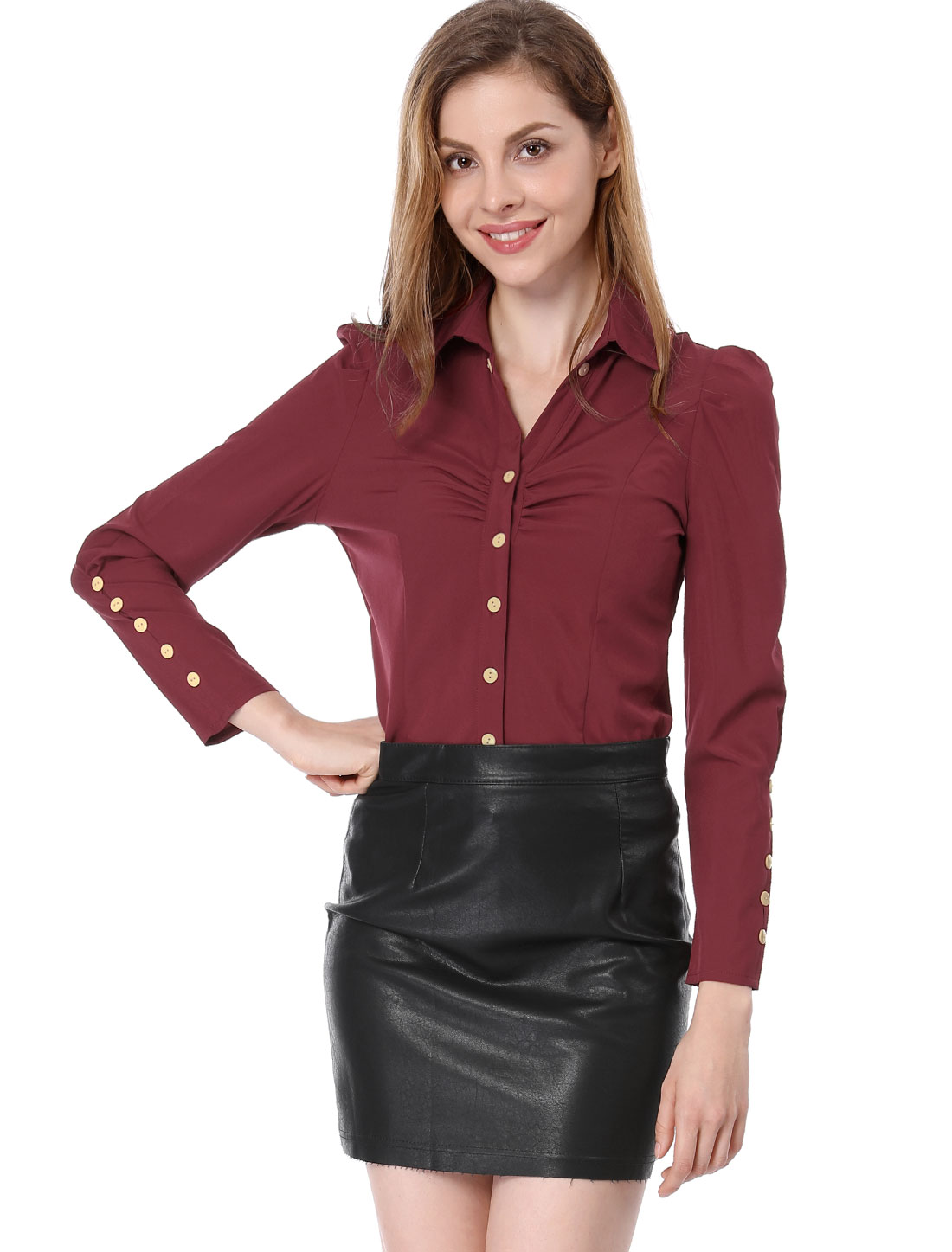 Women Button Front Long Sleeve Ruched Detail Shirt Burgundy XS