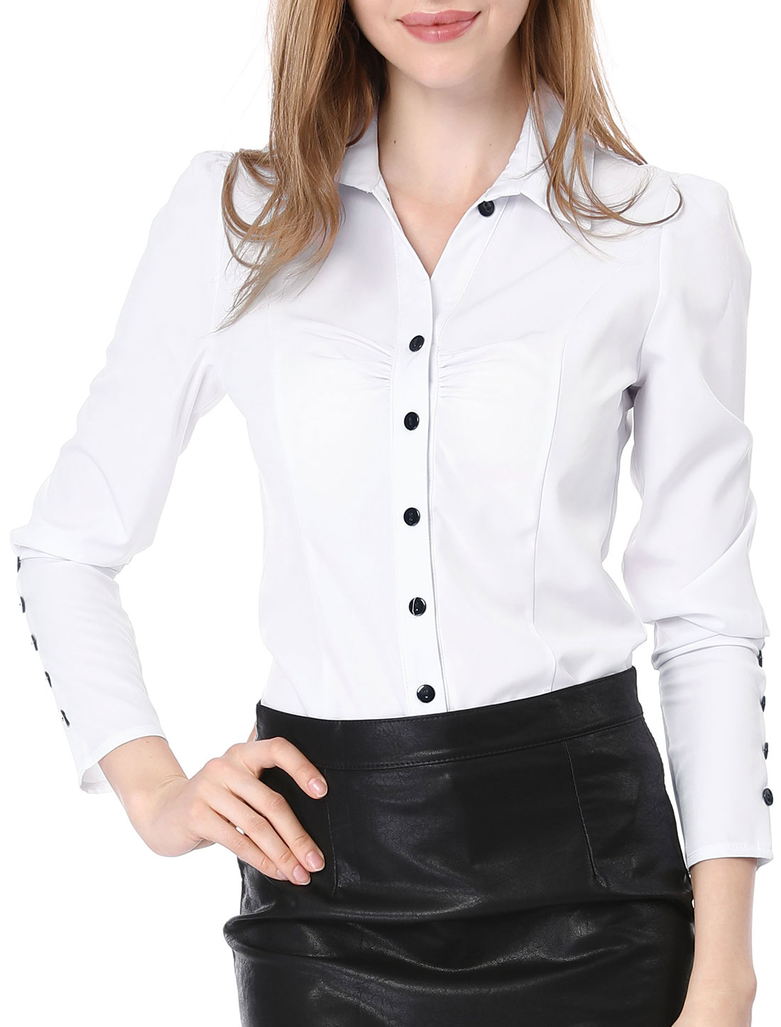 Women Button Down Round Hem Ruched Detail Shirt White S