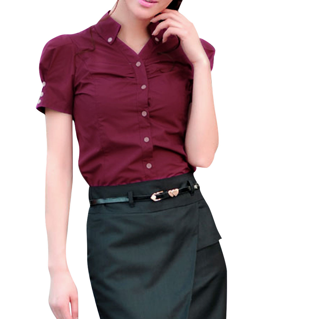 Women Button Closure Ruched Detail Casual Shirt Burgundy M