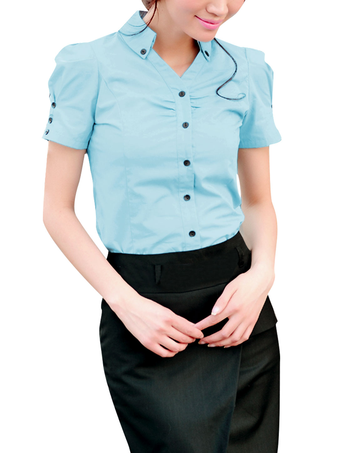 Women Single Breasted Puff Sleeve Ruched Detail Shirt Light Blue M