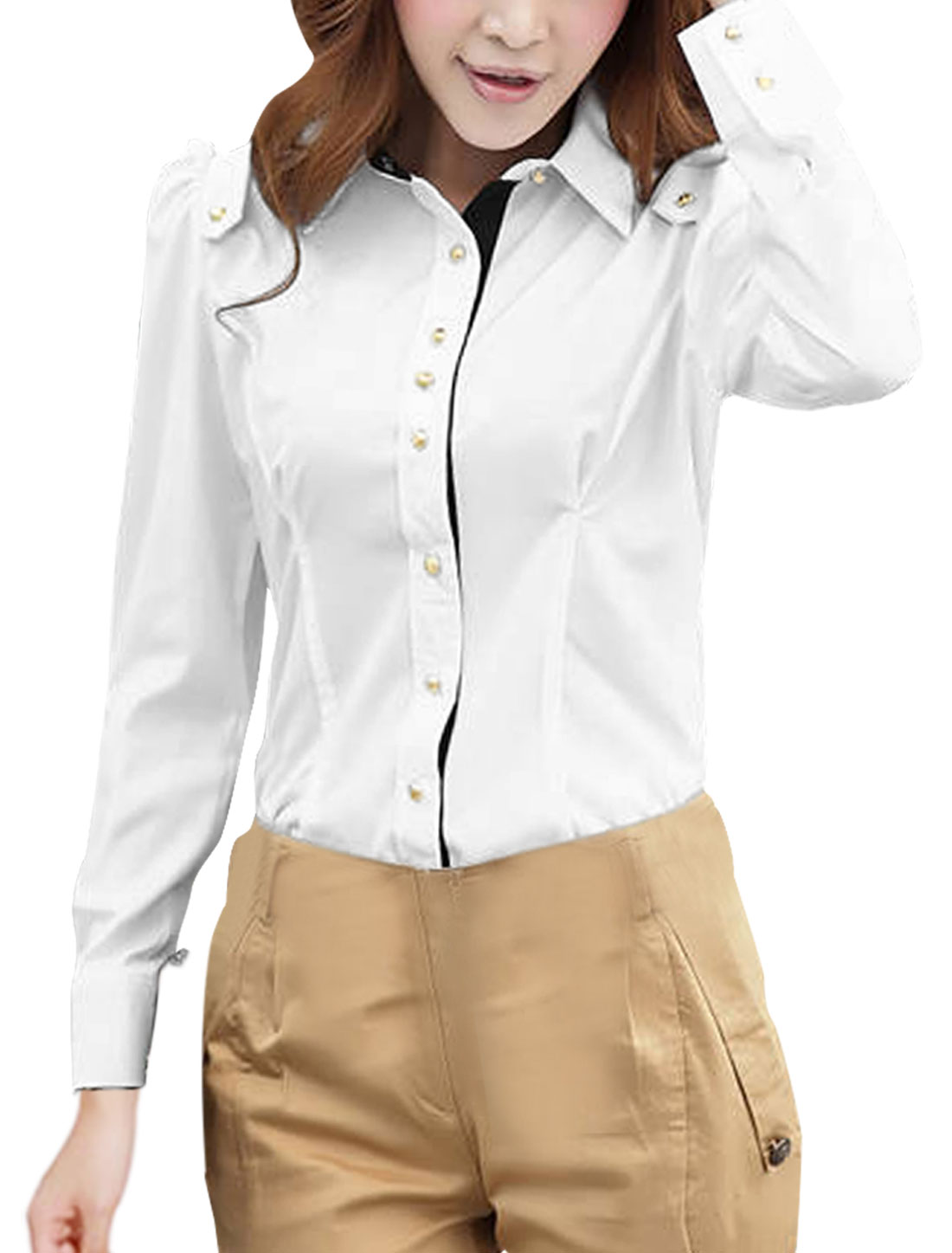 Ladies Button Down Long Sleeve Panel Casual Shirt White XS