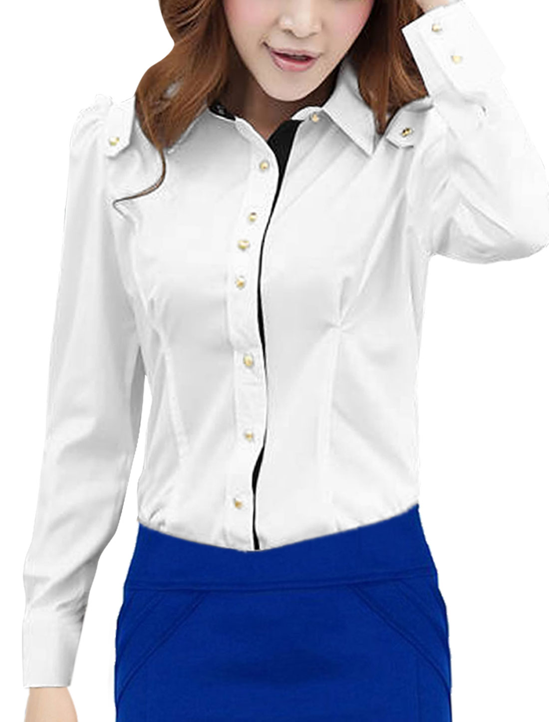 Ladies Point Collar Button Down Round Hem Shirt White S