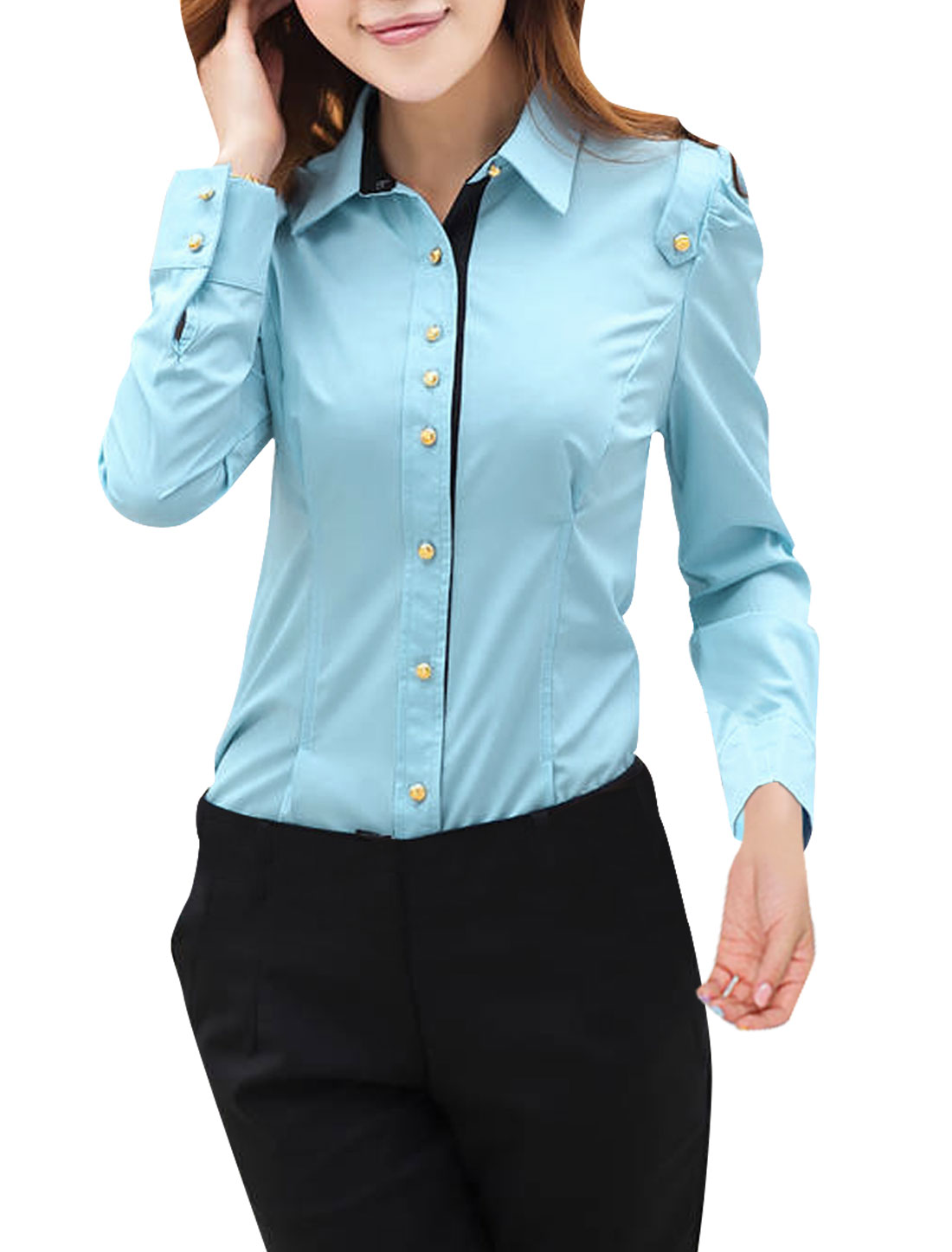 Ladies Point Collar Long Sleeve Panel Shirt Light Blue XS