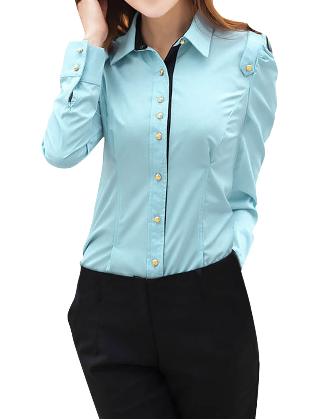 Ladies Single Breasted Buttoned Cuffs Casual Shirt Light Blue S