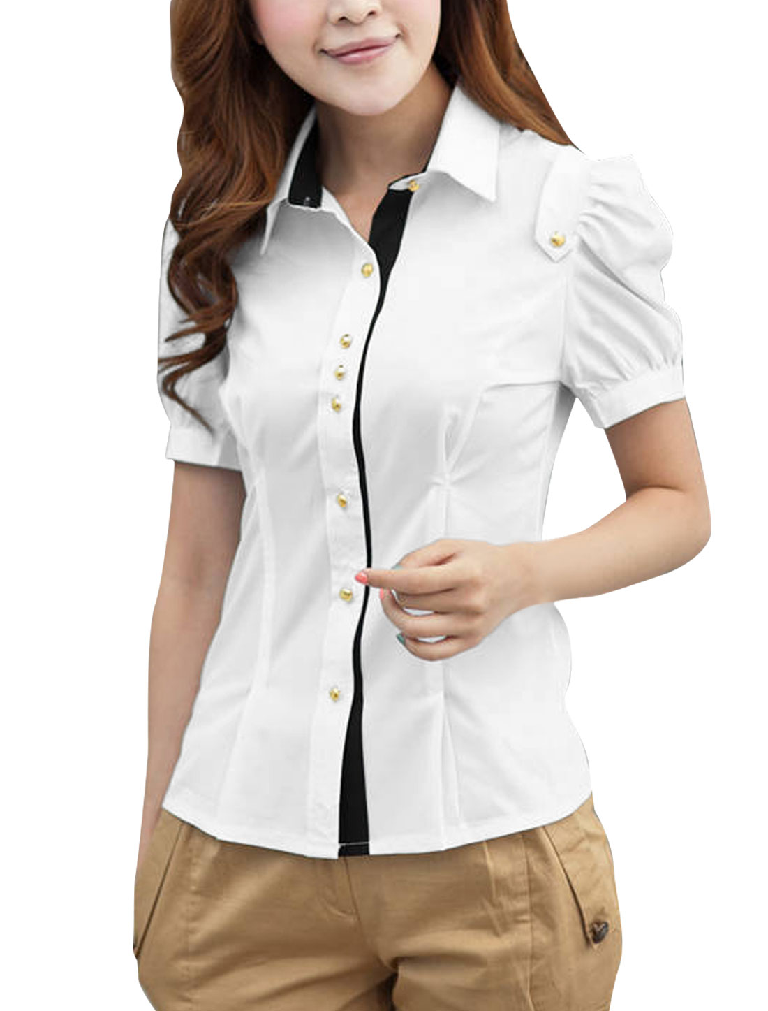 XS White Button Closure Slim Fit Two Tone Color Block Summer Shirt for Ladies