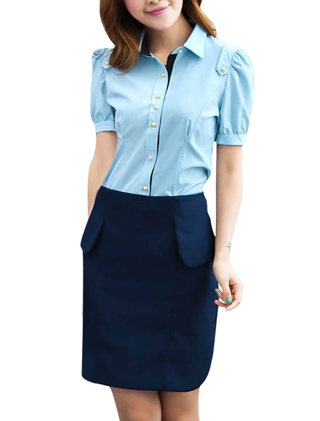 XS Ladies Short Sleeve Button Front Style Slim Fit Round Hem Shirt Blue