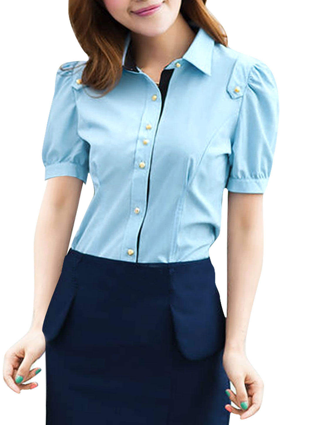Women Point Collar Short Sleeve Front Button Closure Summer Shirt Blue M