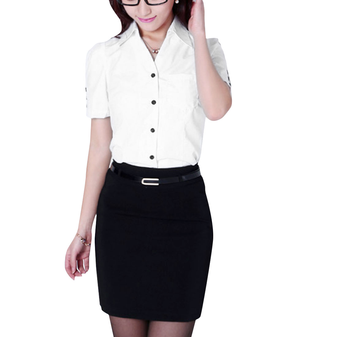 Women Point Collar Puff Sleeve Chest Pocket Shirt White S