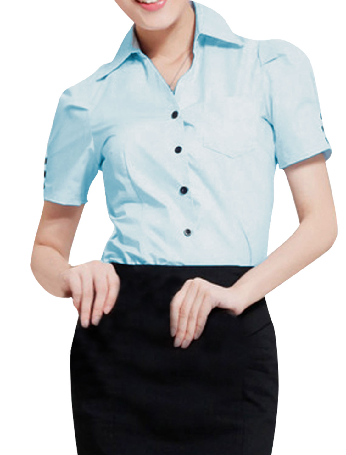 Women Single Breasted Puff Sleeve Casual Shirt Light Blue S
