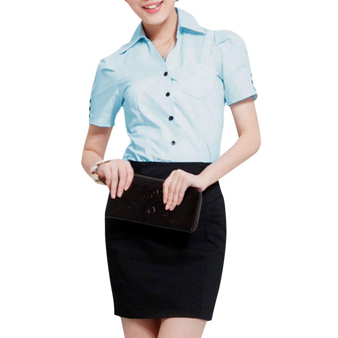 Women Point Collar Button Up Chest Pocket Shirt Light Blue L