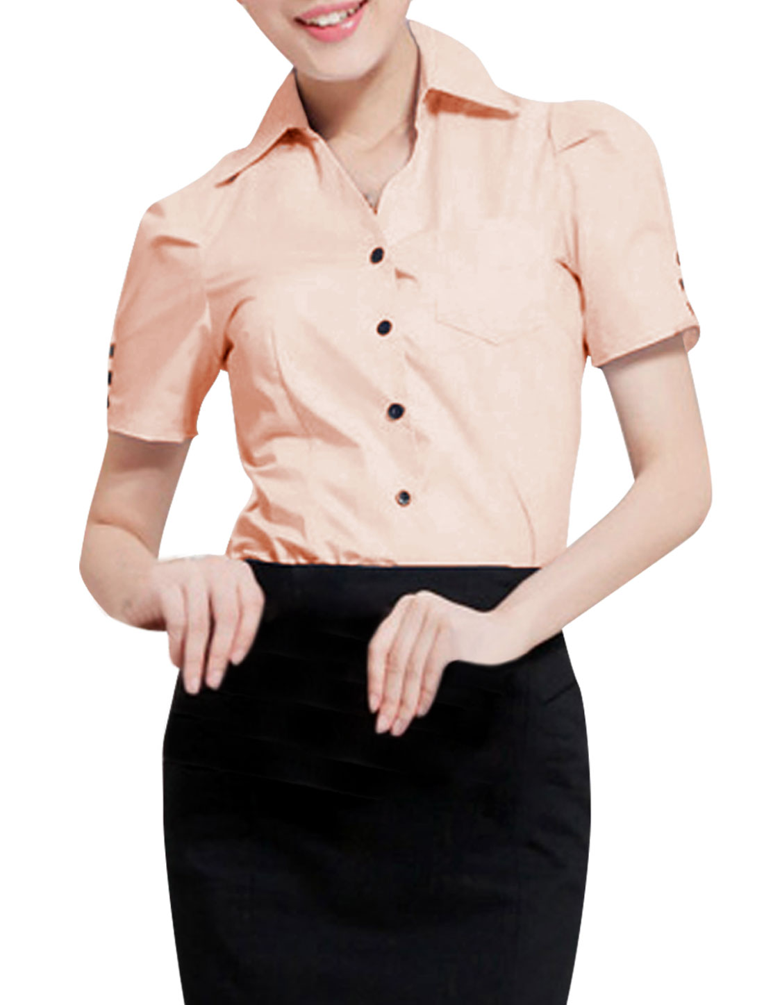 Women Button Up Short Sleeve Chest Pocket Shirt Pink S